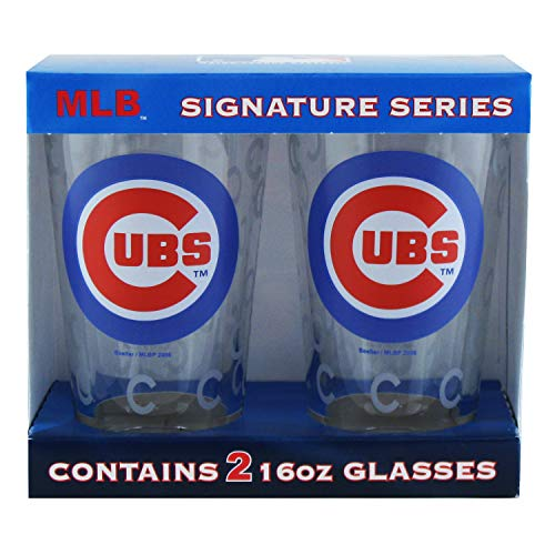 Boelter Brands MLB Chicago Cubs Pint GlassSatin Etch 2 Pack, Clear, One Size