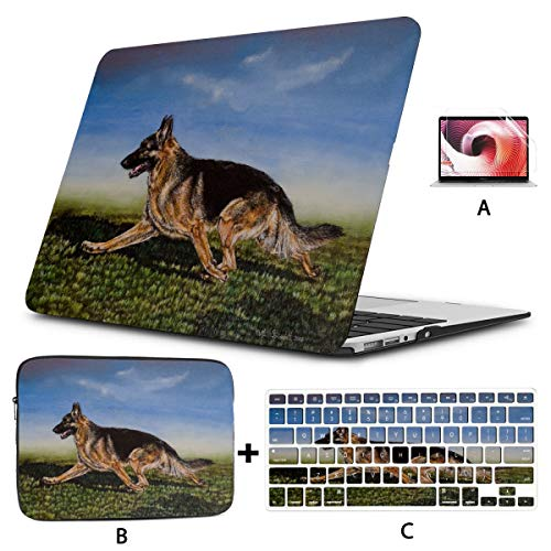 Macbook Pro Hard Cover Cool Animal Running Dog German Shepherd Protective Macbook Pro Case Hard Shell Mac Air 11'/13' Pro 13'/15'/16' With Notebook Sleeve Bag For Macbook 2008-2020 Version