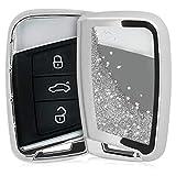 kwmobile Funda Compatible con VW Llave de Coche de 3 Botones (Solo Keyless Go) - Carcasa Protectora Suave de Silicona - Case para Mando - Purpurina y Estrellas