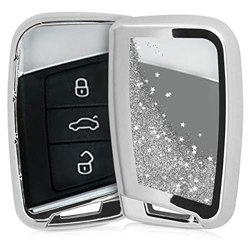 kwmobile Autoschlüssel Hülle kompatibel mit VW 3-Tasten Autoschlüssel (nur Keyless Go) - TPU Schutzhülle Schlüsselhülle Cover Schneekugel Sterne Silber Metallic Silber