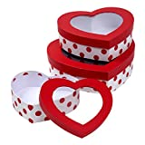 Set of 3 Valentine's Day Heart Shaped Treat Boxes with Window; Cardboard Goody...
