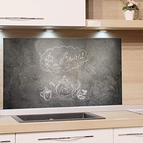 GRAZDesign Küchen-Spritzschutz Glas Grau Küchen Herd Bild-Motiv Spruch auf Steinoptik Granit Guten Appetit - Glasbild als Küchenrückwand - Küchenspiegel / 100x50cm
