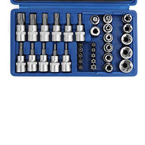 34pcs Torx hembra macho kit,cabeza torx llave torx macho hembra Máquina de Reparación de Motores Conjuntos de Manga de Lote de Presión