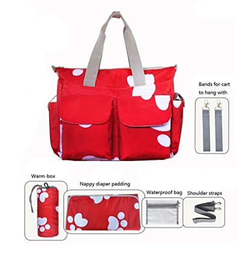 My Share Mall Original Floral Designer Diaper Tote Bags(Red)