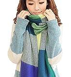 Sciarpa Donna Inverno, donna inverno scialle maglione cappotto Girl grandi Tartan Wrap Maglia Scialle Inverno Donna, Poncho Donna Invernale Stola Pashmina per Donna … (Verde e blu)