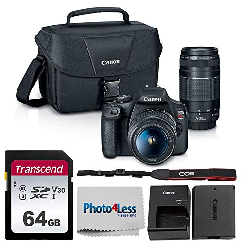 Canon EOS Rebel T7 Digital SLR Camera Body + EF-S 18-55mm f/3.5-5.6 IS II + EF 75-300mm f/4-5.6 III Lens + EOS Shoulder Bag + Transcend 64GB SD Memory Card + P4L Cleaning Cloth  Ultimate Canon Bundle
