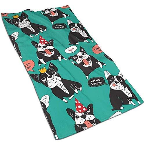 Snbin Perro Bulldog francés Animales Felices Microfibra Toallas de Mano Toallas Toallas de Secado rápido Toallas Deportivas (40x70cm)