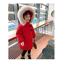 ファッションダウンジャケットギフト 女の子のフグダウンジャケットフード付き冬コート軽量パッドダウンコート子供の厚い白いアヒルダウンジャケット (Color : Red, サイズ : 140)