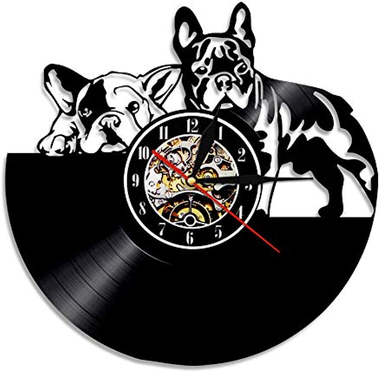 Wanduhr Franzsisch Bulldog LP Atmosphre Lampe LED Beleuchtung Hintergrundbeleuchtung Geschenk für Hundeliebhaber