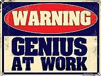 警告GeniusAtWorkヴィンテージ面白い壁の飾り額ポスターカフェバーギフト8X12インチ