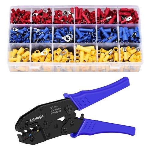 Sainlogic Crimpzange Kabelschuh Set, krimpzange kabelschuhe set mit 700 stk, Elektrische Steckverbinder Quetschverbinder Sortiment 0,5-6 qmm für isolierte Kabelschuhe