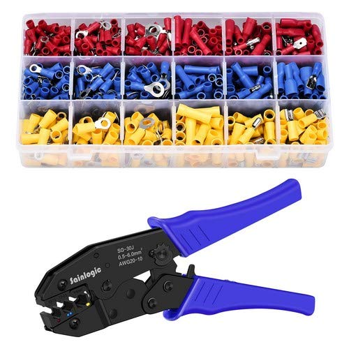 Preisvergleich Produktbild Sainlogic Crimpzange Kabelschuh Set,  krimpzange kabelschuhe set mit 700 stk,  Elektrische Steckverbinder Quetschverbinder Sortiment 0, 5-6 qmm für isolierte Kabelschuhe