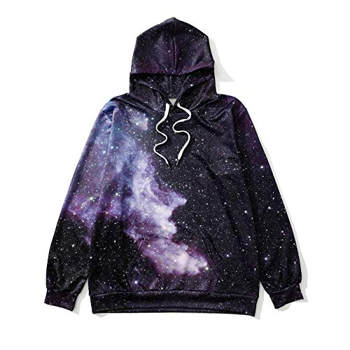 Femmes Sweats à Capuche Manches Longues,Dreamy Fantasy Starry Sky Blooming Print Ladies Hooded Sports Sweatshirt Casual Tops Hoody Jumper Pull Pour Couple Travel Party Outdoor Automne Hiver, Color4,