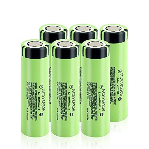 ZhanMazwj 18650 BateríAs Recargables 3.7v 3400mah Batería De Iones De Litio De Litio, Batería NCR18650B Real para Linterna 6Pcs