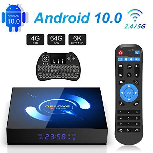 QPLOVE Android 10.0 TV Box 4GB 64GB H616 Quad Core 2.4G/5G WiFi Bluetooth 5.0 H.265 3D 6K Ultra HD Smart TV Box Con Mini Wireless Backlit Keyboard