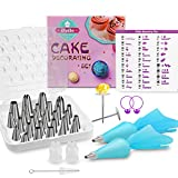 iNeibo 39 Pcs Cake Decorating Tips Kits Stainless Steel Baking Tools Piping Tips Set with 29 Numbered Icing Tips, 2 Reusable Pastry Bags, 2 Flower Nails, 2 Coupler, 1 Brush, 1 Storage Case