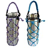 VSPORTS Paracord Water Bottle Carrier Sleeve Mesh Net Pouch Bag Sling with Handle for Carrying 18 24 32 40 oz Hydro Flask Insulated Stainless Steel Plastic Tumbler for Hiking Outdoor Sports - 2 Pack