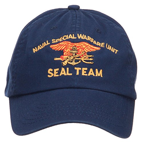 e4Hats.com Naval Warfare Seal Team Military Embroidered Low Profile Cap - Navy OSFM