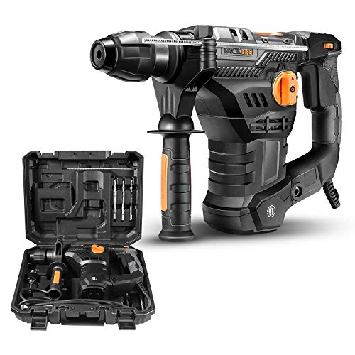 TACKLIFE 1-1/4 Inch SDS-Plus 12.3 Amp Rotary Hammer Drill, 7Joules Impact Energy, 4350BPM, 900RPM, 4 Functions, Vibration Damping Technology, Safety Clutch, Ideal for Concrete and Stones -TRH01A