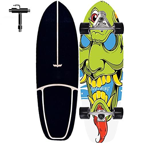 Monopatín patineta Retro Madera Skateboard para Adolescentes Professional 76×24CM Monopatin Completa Surfskate Carver para Niños Adolescentes Adultos, con rodamientos de Bolas ABEC-9 Alta velicidad