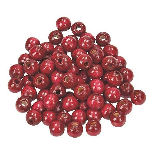 Efco - Perline in legno, 6 mm, 110 pezzi, colore: Rosso scuro