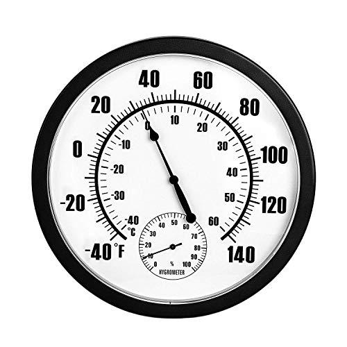 Nrpfell 10 Zoll Indoor Au?En Wetter Thermometer Hygrometer für Terrasse, Wand oder Dekorative Keine Batterie Ben?Tigt