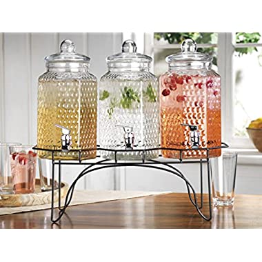 HC Elegant Home (3) 1 Gallon Each Quality Ice Cold Clear Glass Jug Beverage Dispensers Hermetic Seal Metal Display