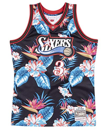 Mitchell & Ness Floral Swingman Jersey Philadelphia 76er Allen Iverson #3 XL