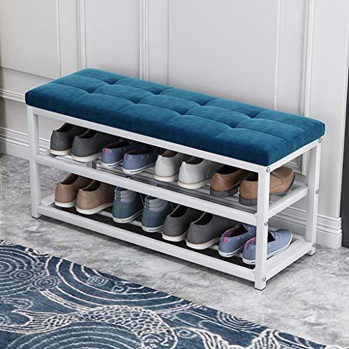Bancos con cajones Banco de zapatos de metal, organizador de almacenamiento de zapatos de 3 niveles, con asiento y estante, marco de acero, ideal para entrada, sala de estar, pasillo (8 colores) Zapat