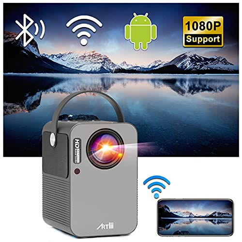 Smart Projector with WiFi and Bluetooth, Artlii Play Mini Portable Projector, 1080p Full HD Supported, 4D±45° Correction, Outdoor Movie Projector with Built-in Netflix, YouTube, Prime Video