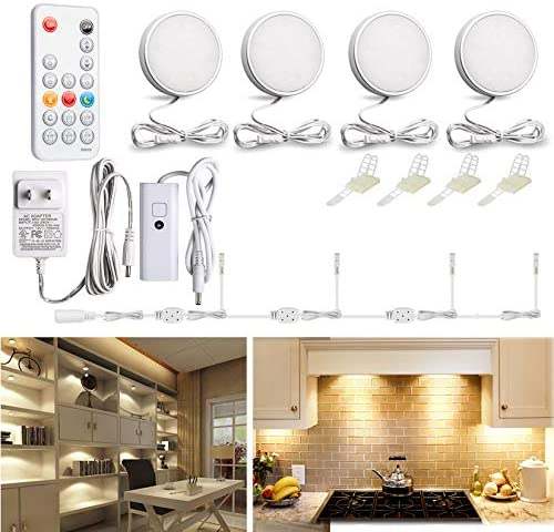 WOBANE LED Puck Lights Wired Under Cabinet Lighting Kit with Remote Dimmable Counter Lighting product image