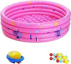 Lurrose 23 Piezas de Piscina Inflable Bañera Piscina Redonda con Bomba de Filtro Y Kit de Reparación para Niños Pequeños Juegos de Diversión en Interiores O Al Aire Libre Rosa