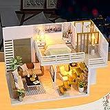 NAN 3D Holz DIY Miniatur Gemütliche Paar Maisonette-Wohnung, Möblierte LED-Haus, Handmontierte...