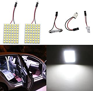 GrandviewTM Super White Energy-saving 5050 48-SMD LED Panel Dome Light Auto Car Interior Reading Plate Light Roof Ceiling Interior Wired Lamp+ T10 BA9S Festoon Adapter-2PCS