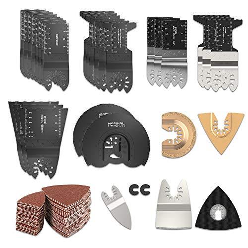 ODOMY 108 Stks Hybride Vibrerende Zaag Blade Kit Quick Release Multi Tool Set voor Bosch, Overtone, DREMEL, RIDGID, Ambachtsman TCH Snijden Hout Kunststof Metaal