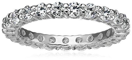 Platinum-Plated Sterling Silver All-Around Band Ring set with Round Swarovski Zirconia (1 cttw), Size 5