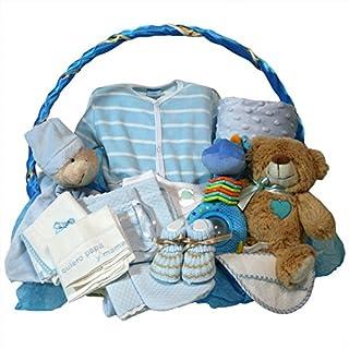 Canastilla bebe recien nacido - Esencial Delux azul - Cesta regalo recien nacido