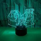 BFMBCHDJ Neue Shar Pei Bunte 3D Licht Tier Geschenk 3D Kleine Tischlampe Touch Remote 3D Nachtlicht A1 Schwarz Basis