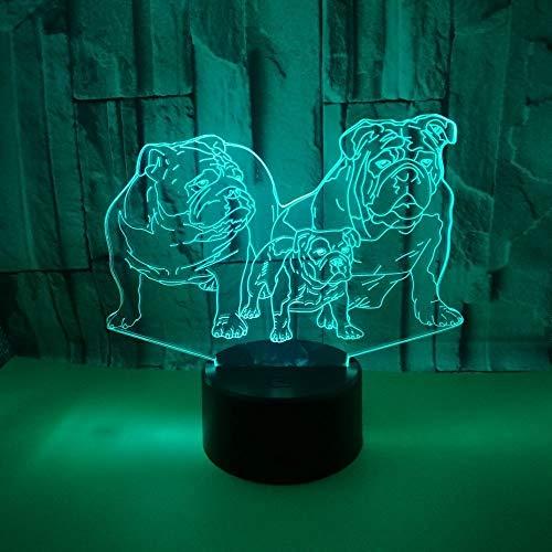 BFMBCHDJ Neue Shar Pei Bunte 3D Licht Tier Geschenk 3D Kleine Tischlampe Touch Remote 3D Nachtlicht A4 Weiß Riss Basis + Fernbedienung