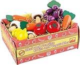 small foot 1756 Stiege mit Gemüse, Zubehör für Kaufmannsladen, Pilze, Karotten, Tomaten, Zitronen, Trauben, ab 3 Jahren