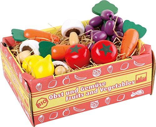 Small Foot 1756 Caisse à légumes , accessoires pour épicerie, champignons, carottes, tomates, citrons, raisins, à partir de 3 ans