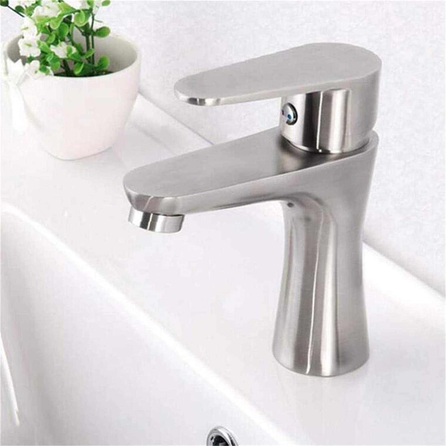 Retro Hot and Cold Faucet Luxury Mixer Platingfaucets Basin Mixer Stainless Steel Single Hole Bathroom Basin Faucet Hot &Cold Water Tap