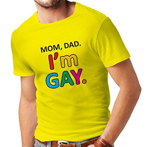 lepni.me Camisetas Hombre Mamá, papá, Soy Gay! Estilo Retro Orgullo Arco Iris (XX-Large Amarillo Multicolor)