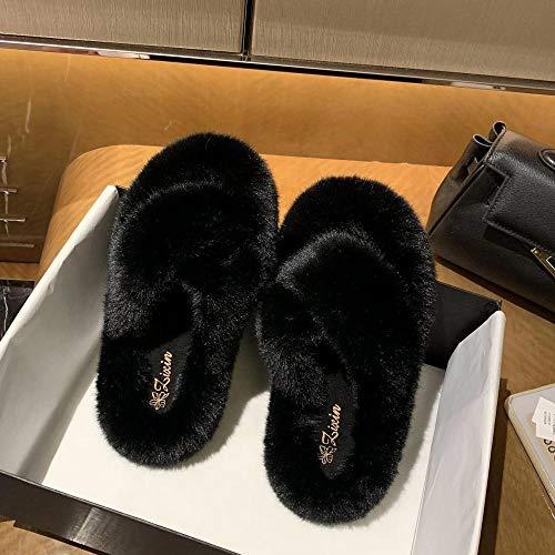 HUSHUI Felpa CóModo Pantuflas,Pantuflas Calientes Antideslizantes de Fondo Grueso, Cross curmes-Black_35,Suave AlgodóN Zapatilla Pareja Zapatos