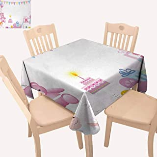 UHOO2018 Kids Birthday,Dust-Proof Tablecloth Baby Girl Birthday Celebration Party with Flags and Bears Cute Toys Print for Summer & Outdoor Picnics Light Pink 36