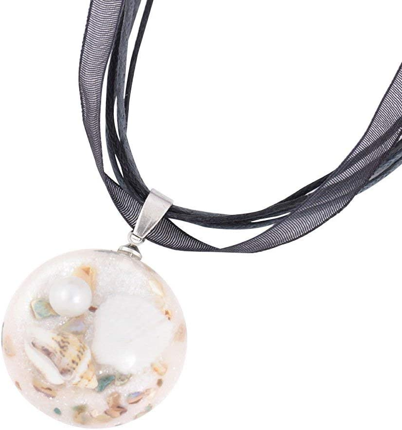 Urns Ashes Funeral Fashion Charming Necklace for Women&Women Ocean Shell Conch Half Ball Rope Chain Pendant Choker Necklace Jewelry for Her,Colour:Purple Pet Memorial Dog cat Urn (Color : Black)