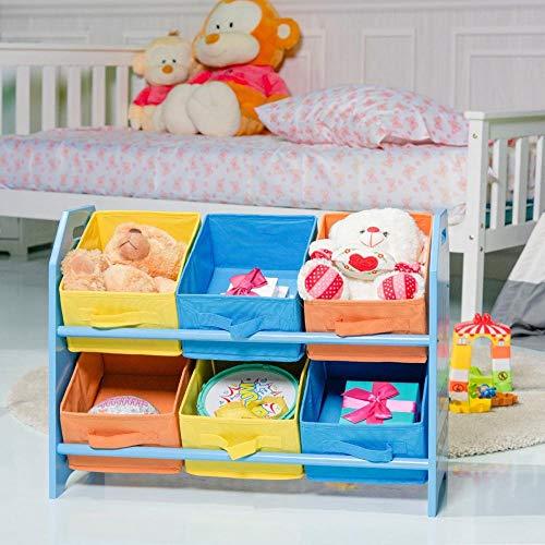 Caiji Holzspielzeug Lagerregal 6 Behälter Einheit Organisator Regal Spielzimmer Home Kindergarten Kinder Kinder