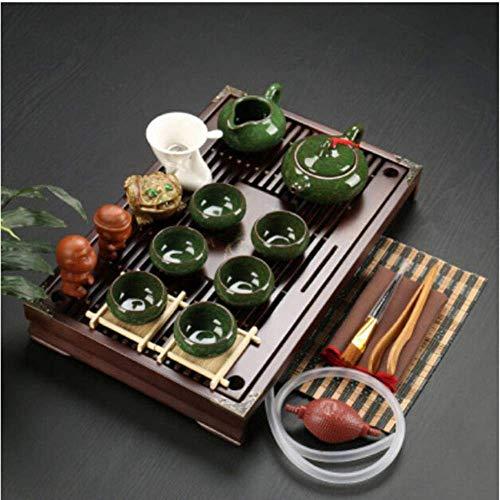 Juego de té de Arcilla púrpura de cerámica Kung Fu Infusor Bandeja de té de Madera Maciza Tetera Tazas de té Vajilla China Gaiwan, s9
