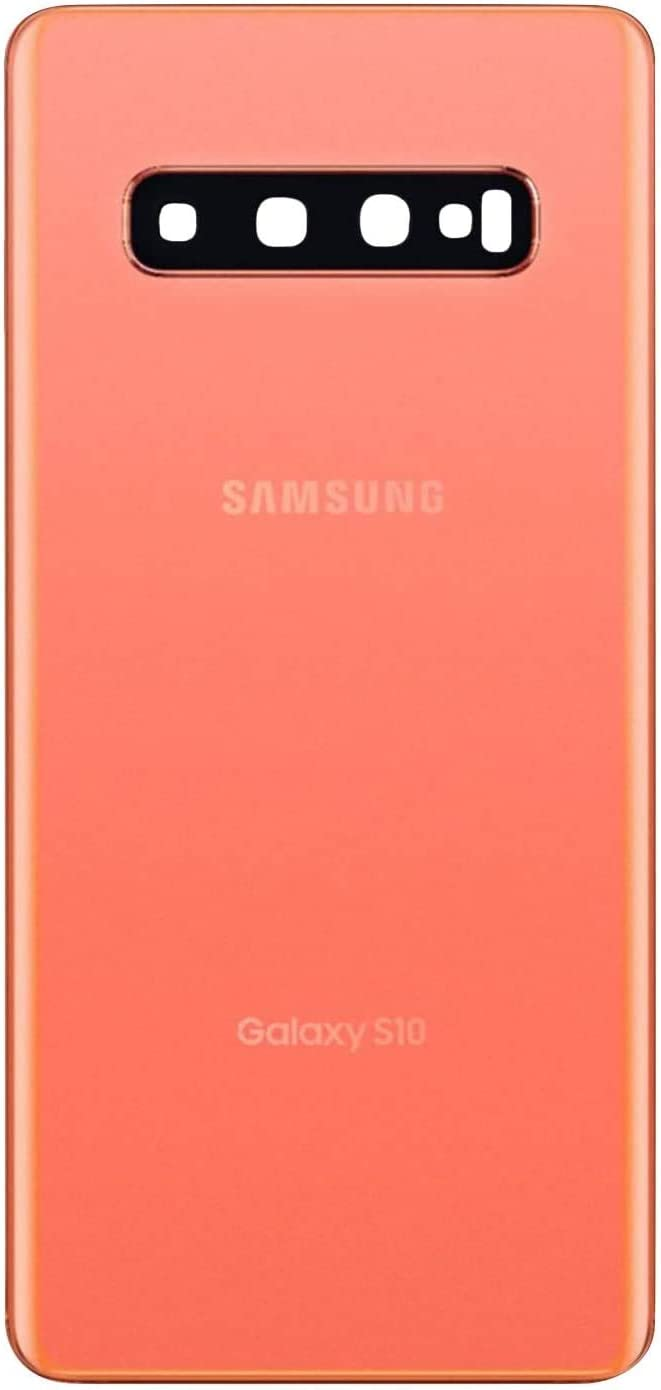 Galaxy S10 Back Cover Glass Housing Door Replacement with Camera Lens and Frame +Tape Parts for Samsung Galaxy S10 S 10 SM-G973F/DS (Flamingo Pink)