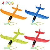Herefun Avion Mousse Manuel Planeurs Enfant Jouet, 4Pcs Avion Polystyrène + 4Pcs Slingshot, Jouet Modèle Mousse Avion Voler Sports de Plein Air Avion Planeurs Enfant